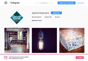 page d'accueil Instagram Epicerie à caro
